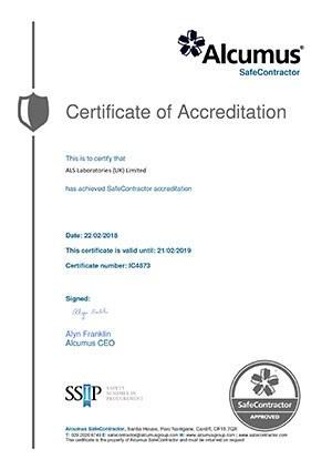SAfe Contractor Certificate